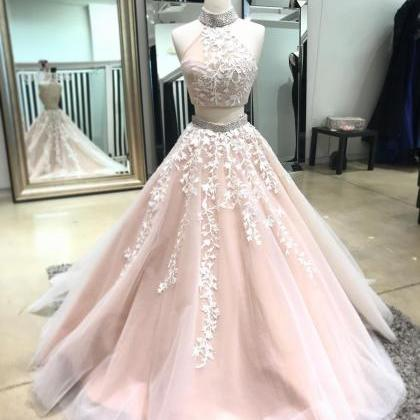 Champagne two pieces lace long prom..