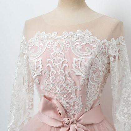Cute pink lace tulle short prom dre..