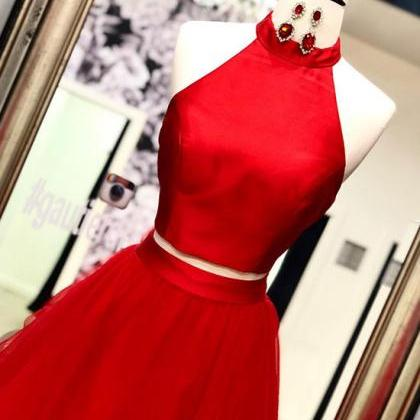 Red two pieces long prom dress, red..