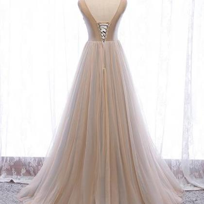 Champagne v neck tulle beads long p..