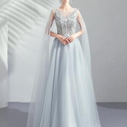 Gray tulle lace long prom dress eve..
