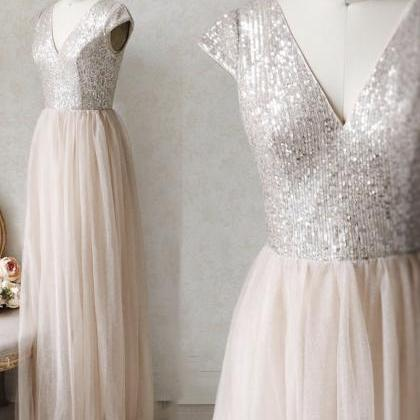 A line v neck sequins prom dress ev..
