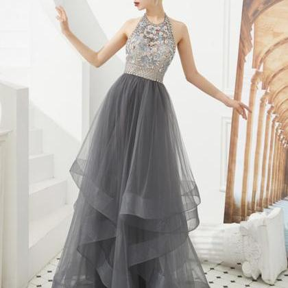 Gray tulle beads long ball gown dre..