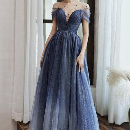 Blue tulle sequins long prom dress ..