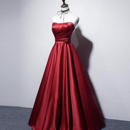 Simple satin long prom dress A line..