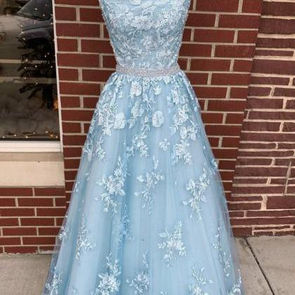 Blue tulle lace long prom dress blu..