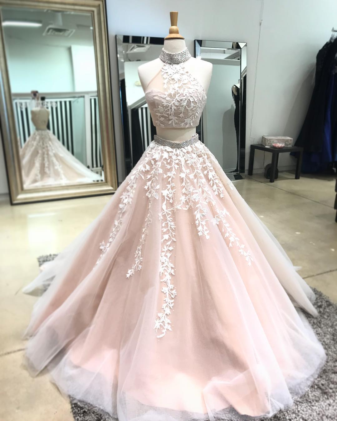 Champagne two pieces lace long prom dress, champagne evening dress