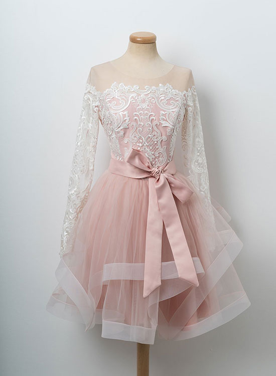 Cute pink lace tulle short prom dress, long sleeve evening dress
