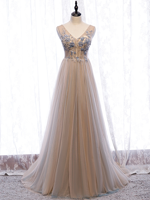 Champagne v neck tulle beads long prom gown formal gown