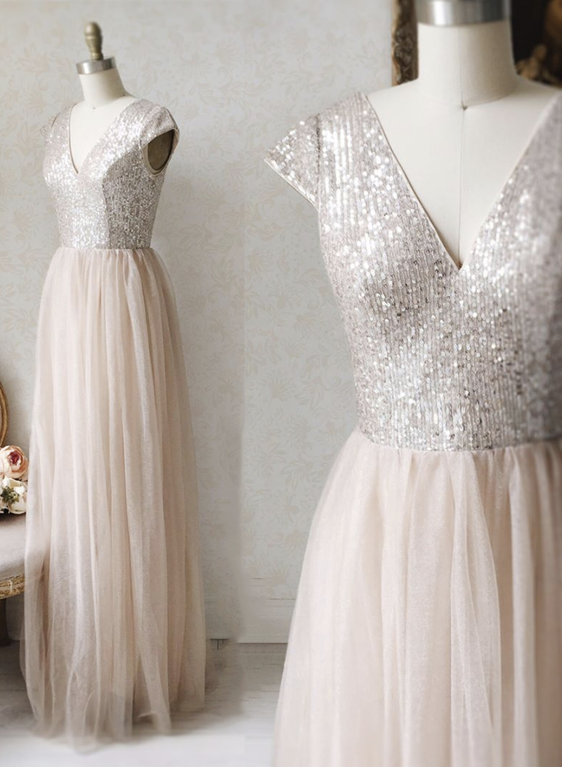 A line v neck sequins prom dress evening dress