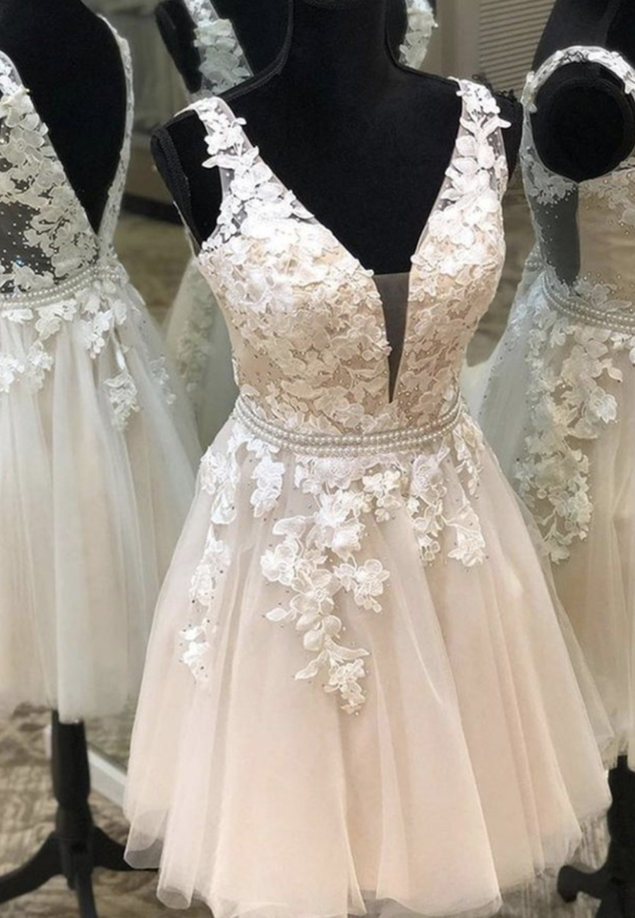 Champagne v neck lace short prom dress homecoming dress
