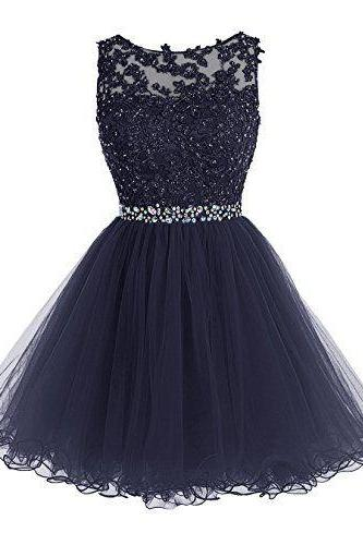 Cute Dark Blue Lace Short Prom Dress Royal Homecoming Dresses Evening