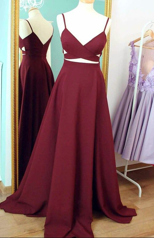 Simple A-line Burgundy Long Prom Dress e1de7077d