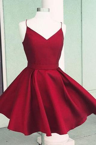 Simple v neck red satin short prom dress, red homecoming dress
