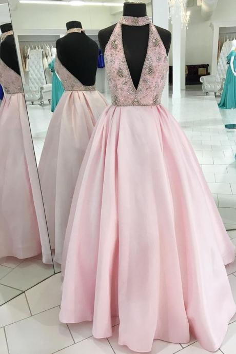 Pink backless long prom dress, pink evening dress, pink formal dress