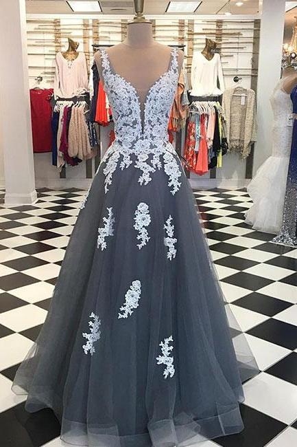 Gray tulle A-line lace long prom dress, gray bridesmaid dress