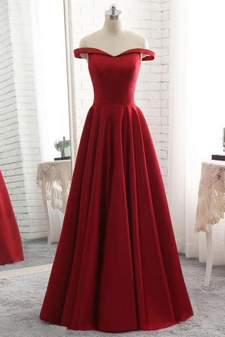 Simple burgundy off shoulder long prom dress, burgundy evening dress