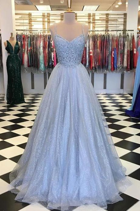 Grey long v neck tulle lace long prom dress, evening dress