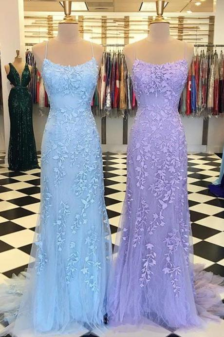 Stylish lace tulle long prom dress, evening dress