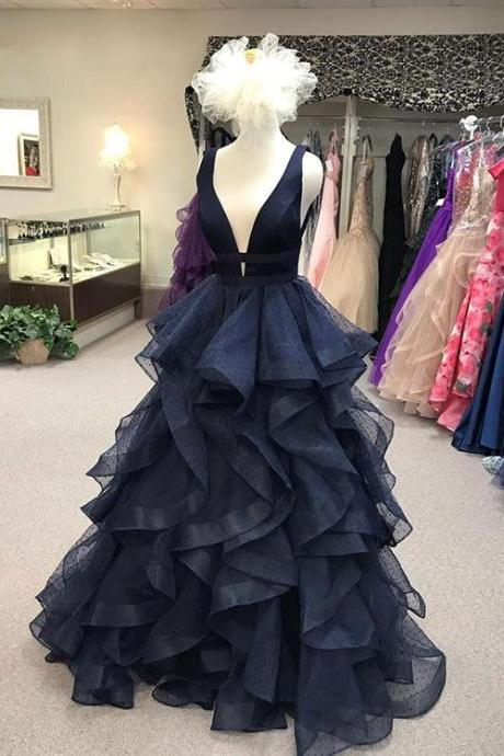 Dark blue v neck tulle long prom dress, evening dress