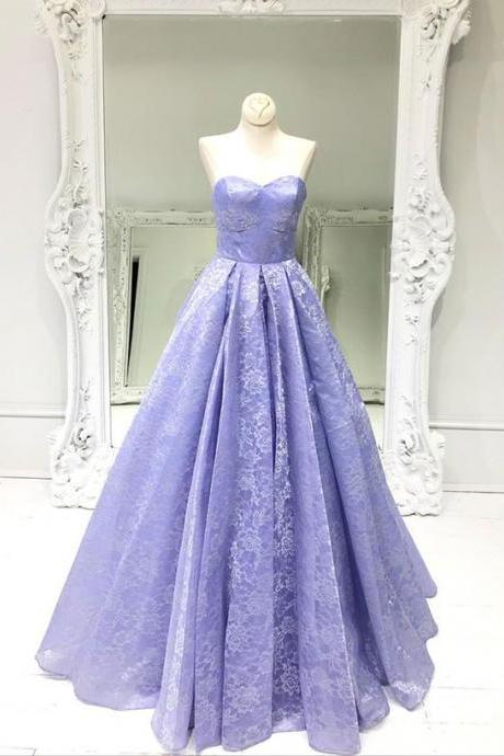 Purple sweetheart neck lace long prom dress, evening dress