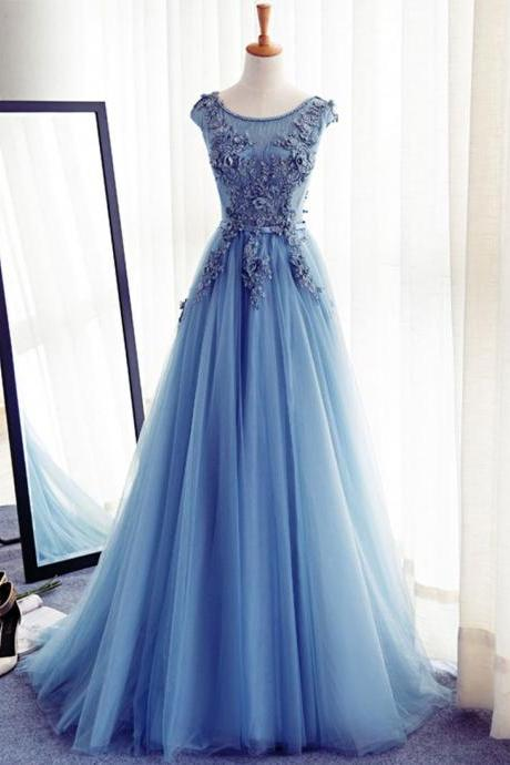 Blue v neck tulle beads long prom dress, blue evening dress