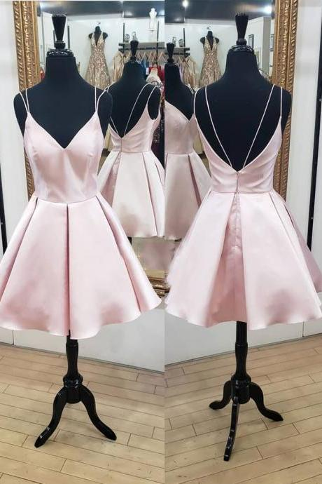 Pink v neck satin short prom dress, pink evening dress