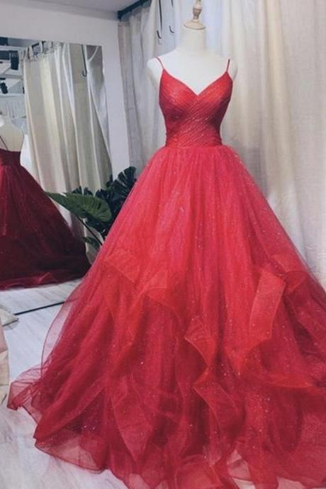 A line tulle long prom gown evening dress