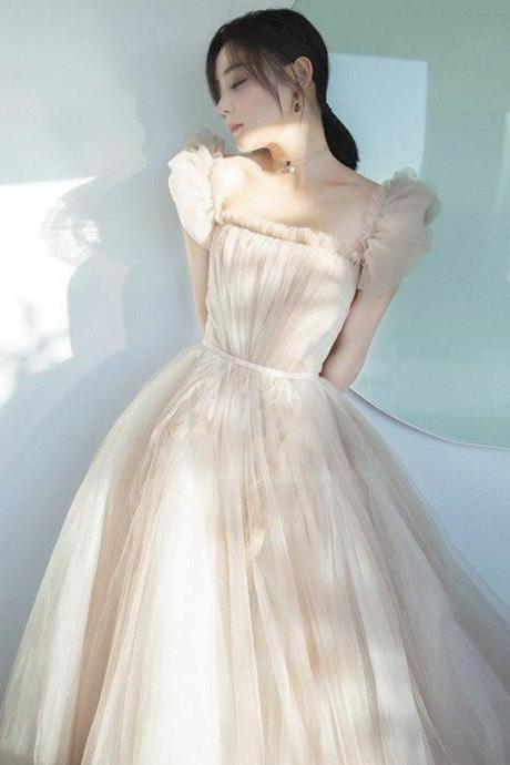 Cute champagne tulle short prom dress