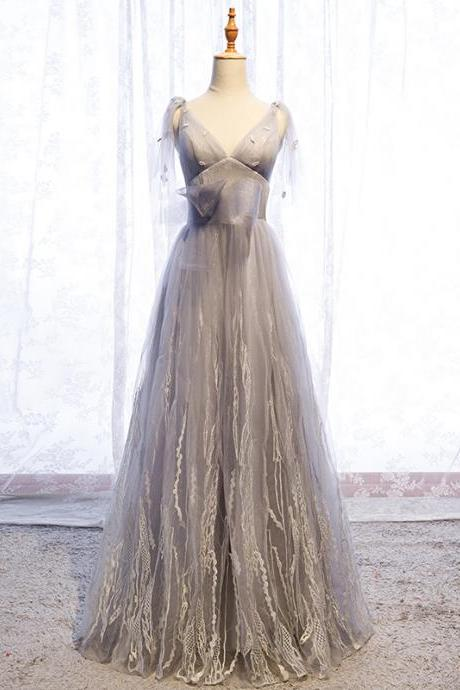 Gray v neck tulle long prom dress formal dress