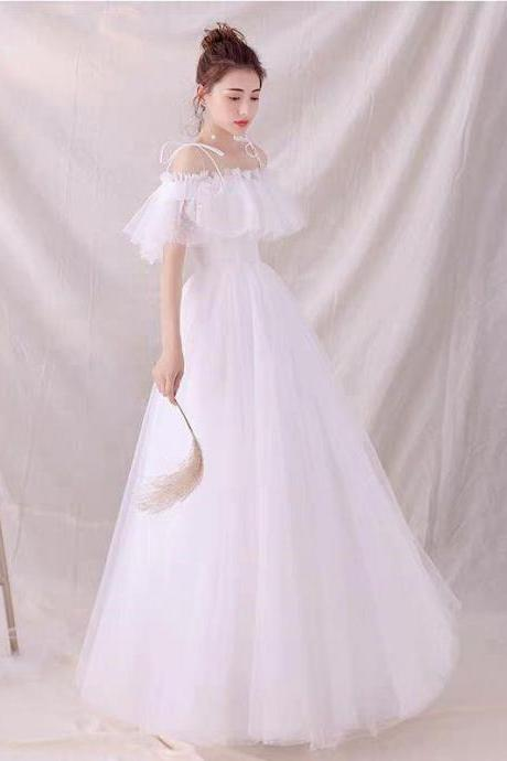 White tulle long prom dress evening dress