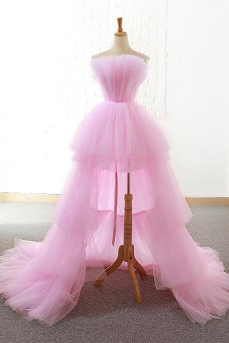Pink tulle long prom dress evening dress