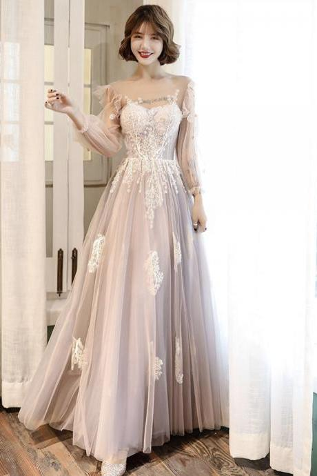 Lovely tulle lace long prom dress lace evening dress