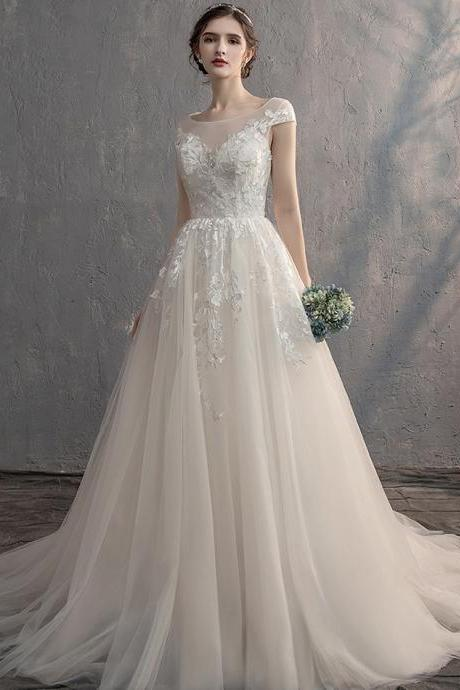 White lace tulle long ball gown dress formal dress