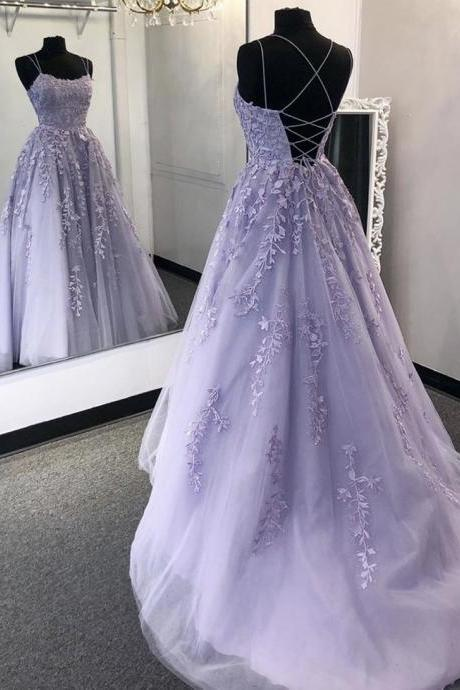 Purple lace long prom dress purple evening dress