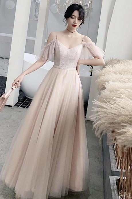 Bridesmaid dress pink tulle sequins long prom dress party dress