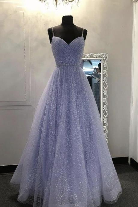 Purple tulle sequins long prom dress evening dress