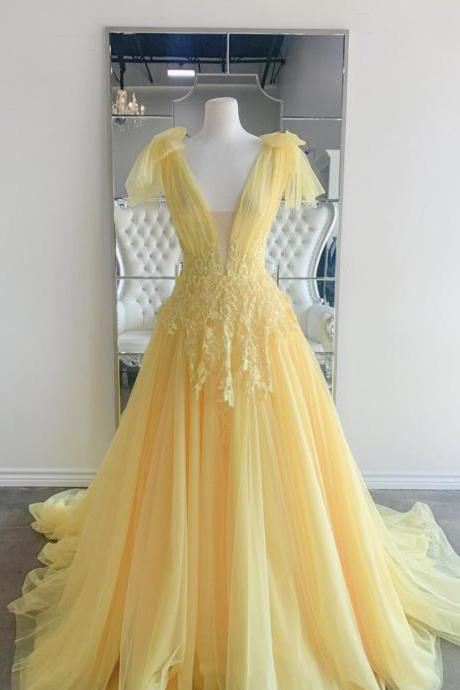 Yellow v neck lace long prom dress yellow evening dress