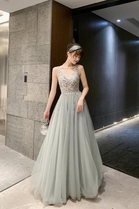 Gray v neck tulle beads long prom dress evening dress