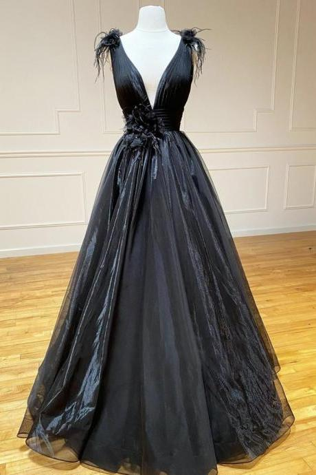 Blue v neck tulle long prom dress black evening dress