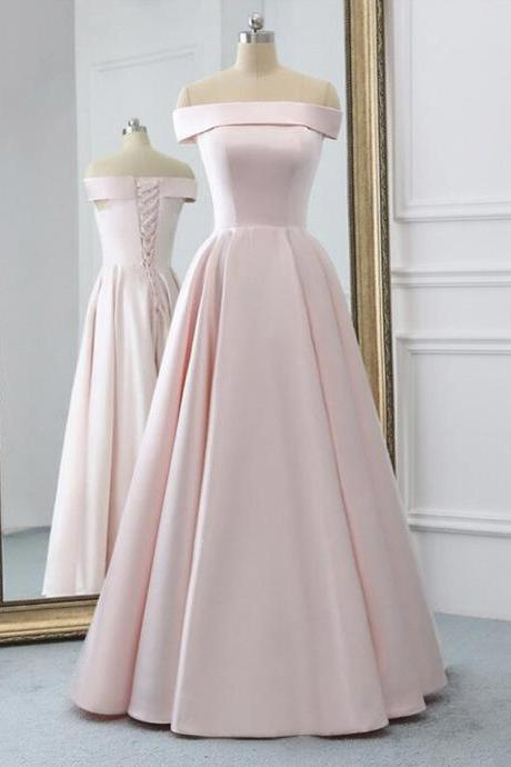 Pink satin long prom dress simple evening dress