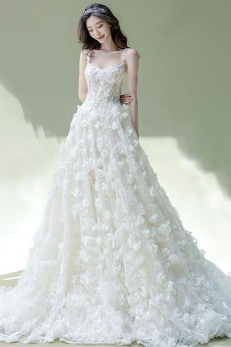 White tulle appliqué long ball gown dress formal dress
