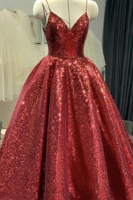 Red v neck sequins long prom dress red evening dress
