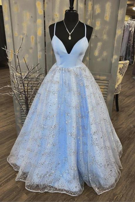 Blue v neck tulle sequins long prom dress evening dress