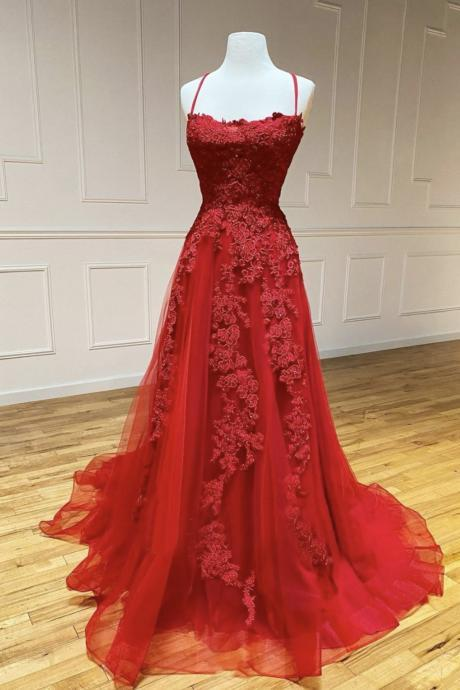 Red lace long A line prom dress red backless evening dress