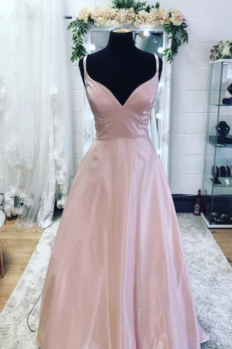 Pink satin long prom dress pink A line evening dress