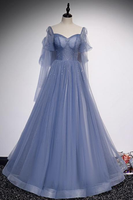 Blue tulle long prom dress A line evening dress