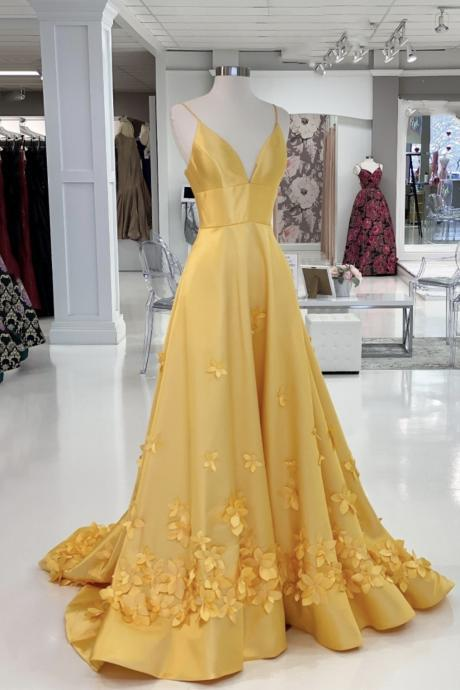 Yellow v neck satin long prom dress A line evening dress