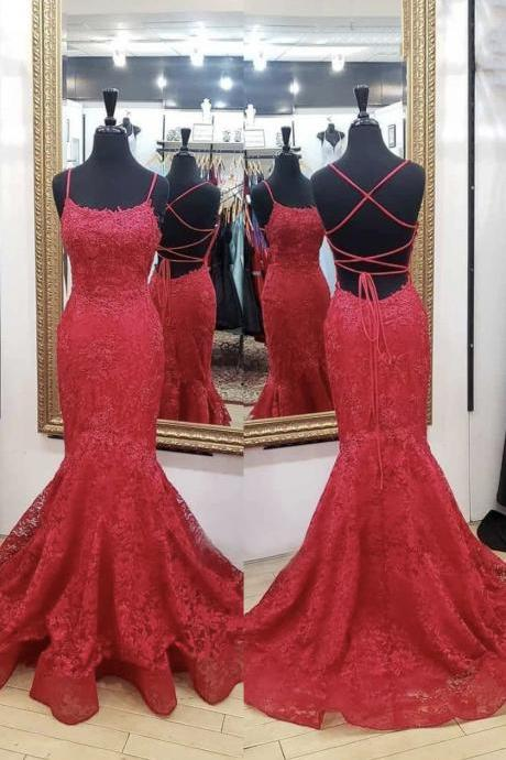 Mermaid lace long prom dress red evening dress