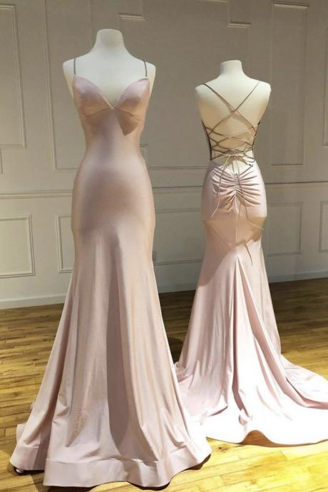 Mermaid satin long prom dress pink evening dress